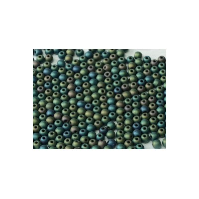 Perle in vetro ceche 3 mm Jet Matted Green Iris 50 pz