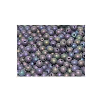 Perle in vetro ceche 6 mm Jet Matted Purple Iris 30 pz