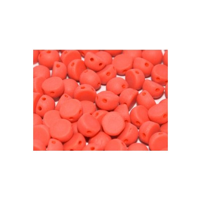 CABOCHON 2 FORI 6 mm Opaque Red Matted  - 10pz