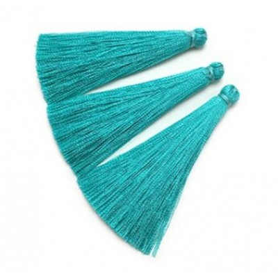 Nappine in seta Turquoise 6,5 mm 2 pz